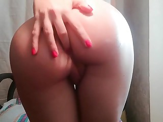 Anal censure with dildo and oil. Pussy masturbation.Big exasperation straponed