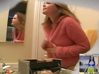 teen keep alive beside the bathroom, hidden camera