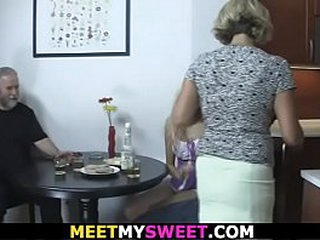 His young girlfriend involved into training 3some