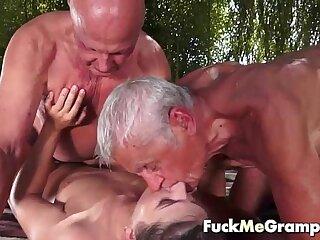Teen fucks two old man in threesome