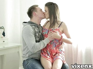 vixenx Tight brunette teen backdoor anal sex uncompromised fro facial
