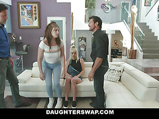 DaughterSwap - Hot Teens Pretend To Obey And Fuck StepDads