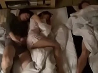 Guy fucks stepsisters when bf sleeps next to her