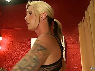 Hot bubble ass and big tits blonde tattooed shemale Morgan Bailey seduces her masseur Alex Adams and anal fucks him till he cums then licks his cum