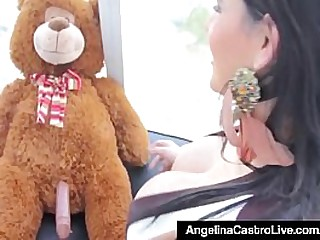 Cuban Brunette Angelia Castro shows off her massive breasts while discovering her Teddy has a Big Hard Cock! She Fucks her Teddy Bear! Hot! Full Video & AngelinaCastro Live @AngelinaCastroLive.com